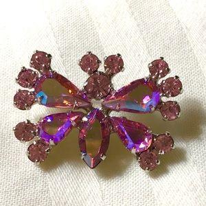 B David vintage rhinestone butterfly pin 1950s